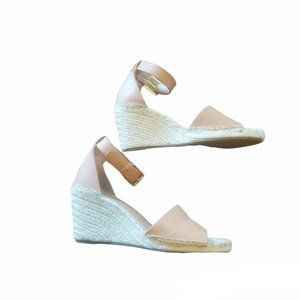 vince camouto leather tan wedge espadrilles with buckle 8.5